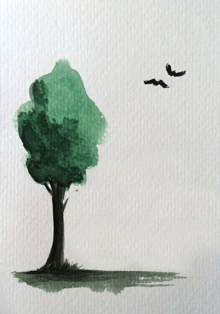 A dark tree card in watercolour